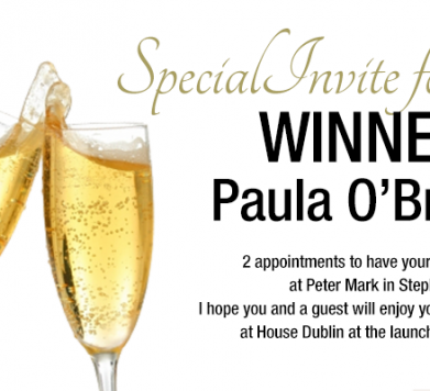 Winner of 2 invitations to Pippa.ie launch!