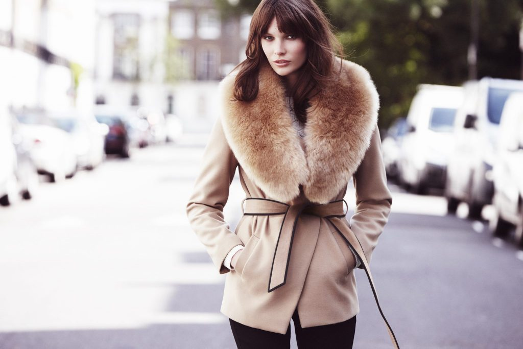 Faux fur stole €15.00, wrap collar coat €49.50